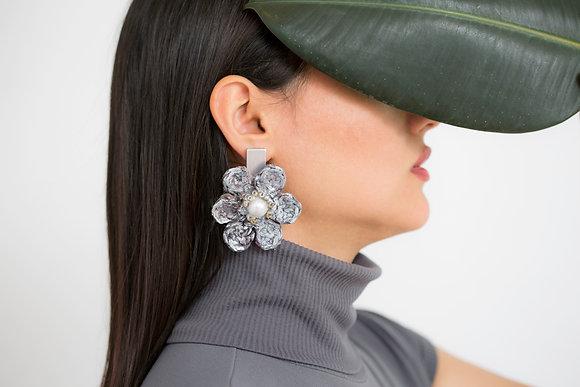 Handmade Grey Flowers Earrings