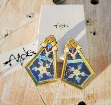 Boho blue Traditional Earrings