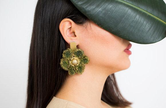 Handmade green Flowers Earrings