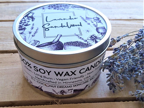 Lavender-sandalwood soy wax candle top-side view