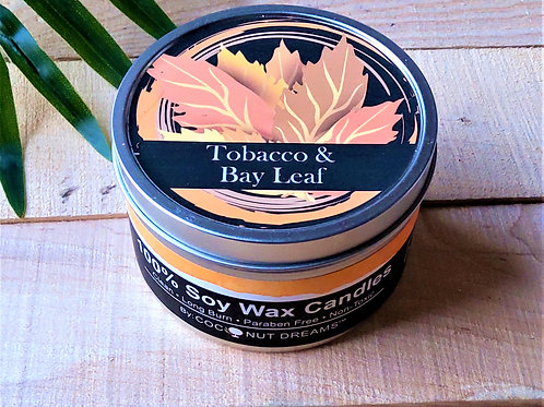 Tobacco & Bay Leaf Hand-poured Soy Wax Candle/ 6 oz