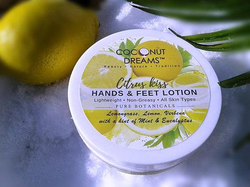 natural hands and feet lotion; lemon, lemongrass, mint, eucalyptus, verbena hands and feet lotion, aloe vera-virgin coconut