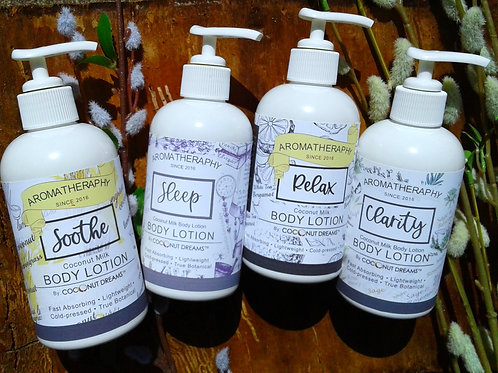aromatherapy body lotion; soothing lemongrass body lotion; coconut milk, aloe, honey and essential oil body lotion