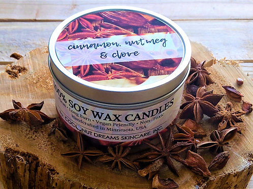 christmas candle; cinnamon, clove, nutmeg candle; soy wax candle; vegan friendly candle, non-toxic candle