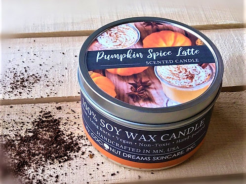 Pumpkin Spice Latte Hand-poured Soy Wax Candle /6 oz
