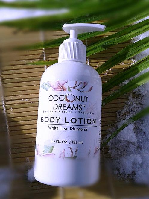 white tea body lotion; plumeria body lotion; perfumed body lotion; coconut milk, aloe and honey lotion