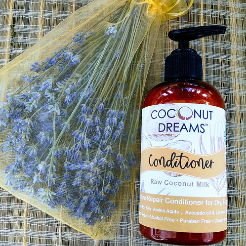 pure coconut milk hair thickening conditioner; lavender and coconut conditioner; chemical -free conditioner