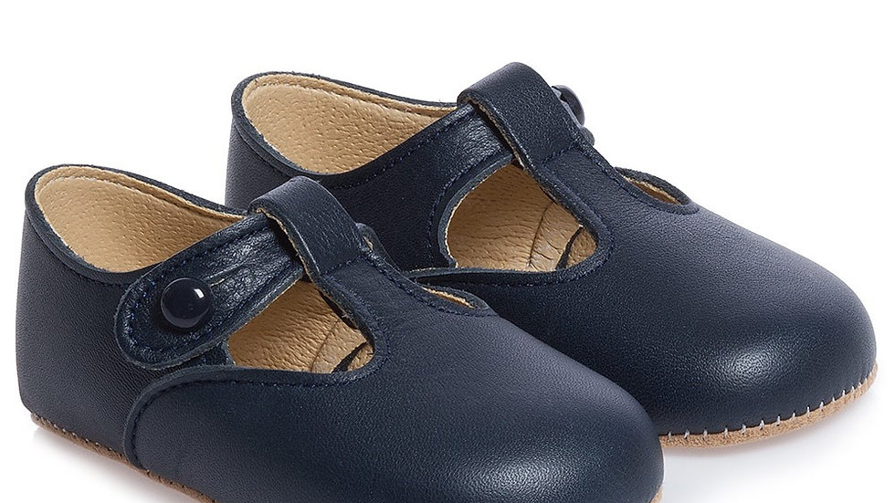 arly Days Blue Leather Pre-Walker Shoes