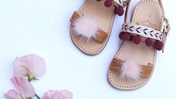Papouelli Pom Pom Embroidery Sandal in burgundy and grey color
