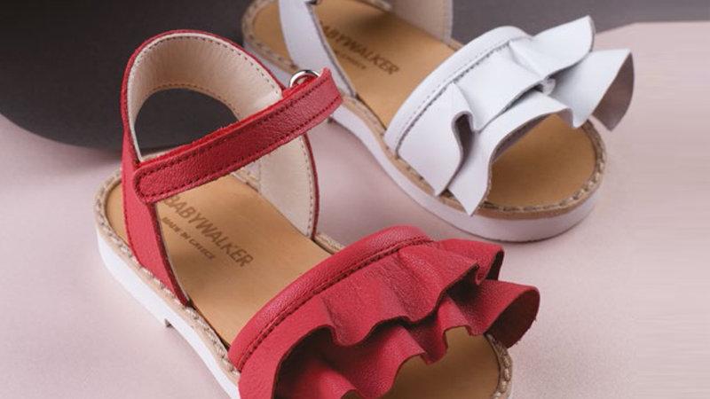 Babywalker girl ruffle leather sandal