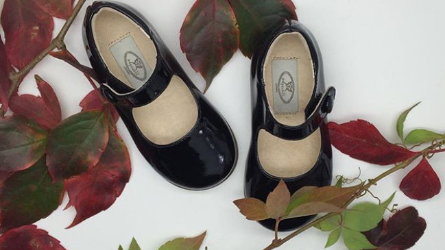 Papouelli Black patent  leather first walker shoes