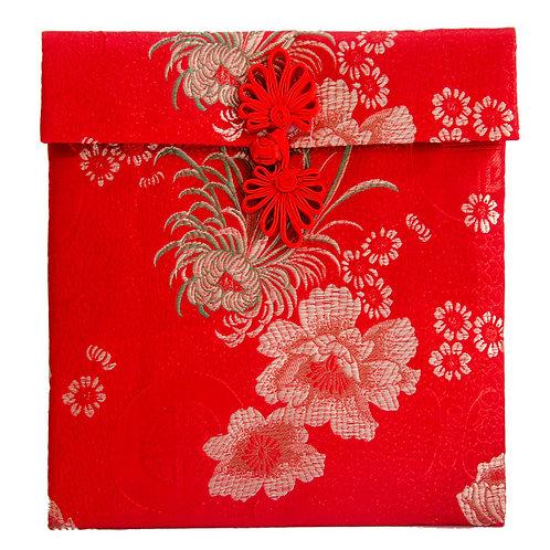 單盤扣絲綢紅包袋(2-4萬菊花紋)