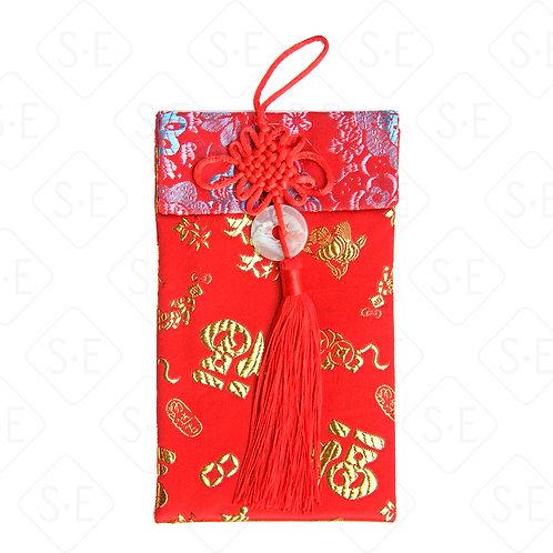 中國結玉珮絲綢紅包袋_太陽花