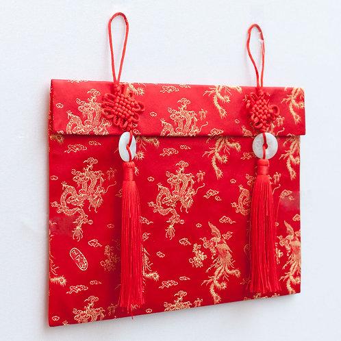 中國結玉珮絲綢紅包袋(龍鳳)