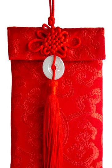 中國結玉佩絲綢紅包袋(富貴花)