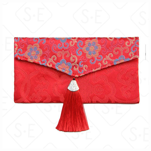 橫式拼鬚絲綢紅包袋_藍朵朵花