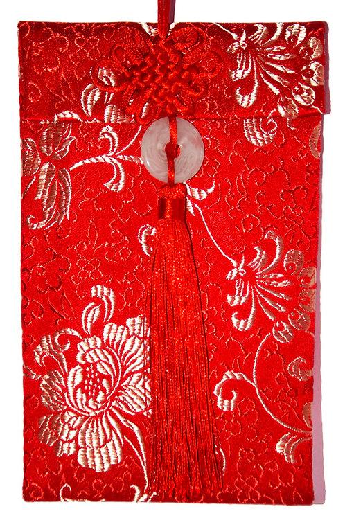 中國結玉佩絲綢紅包袋(兩萬鳳尾)