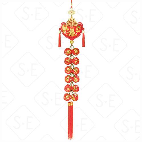 絨面彩金12顆蘋果串吊掛飾 | 勝億紙藝品行春節吊飾批發零售
