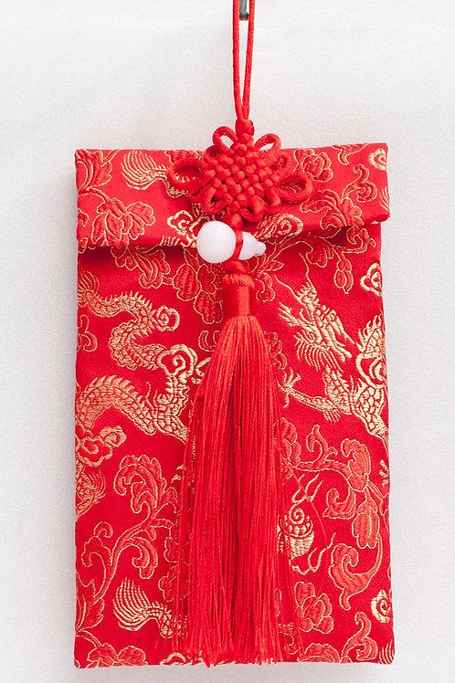 中國結葫蘆絲綢紅包袋(龍紋)