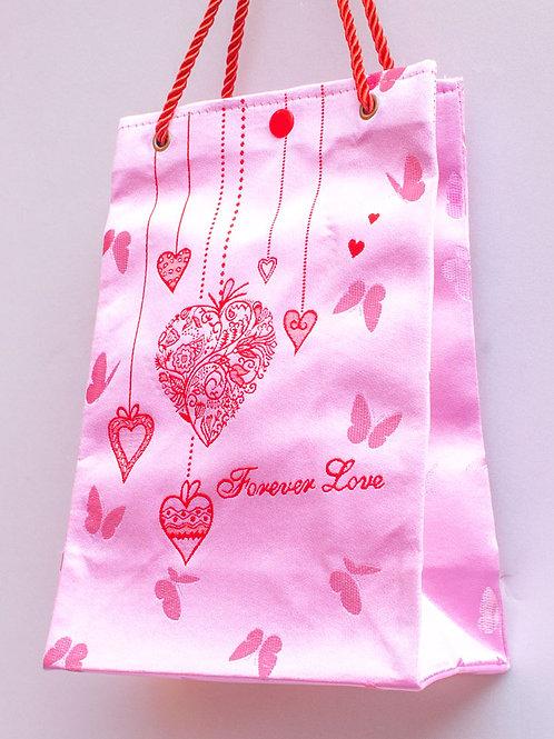 B款絲綢手提袋(愛心、粉紅)