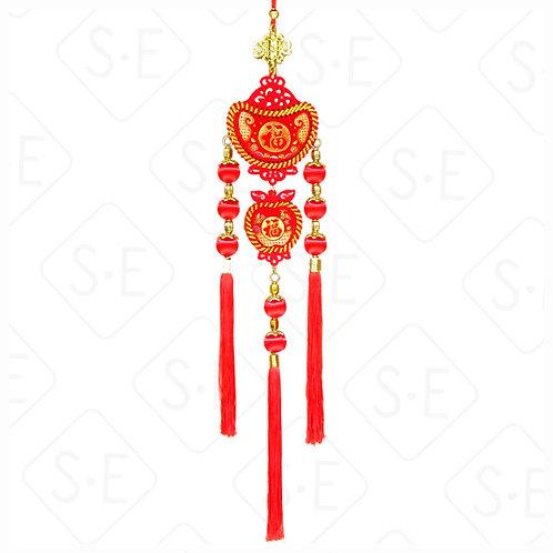 絨面彩金8顆紅絲球串吊掛飾   勝億紙藝品行春節吊飾批發零售