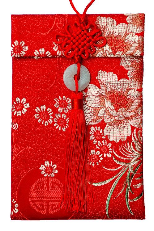 中國結玉珮絲綢紅包袋(兩萬菊花)