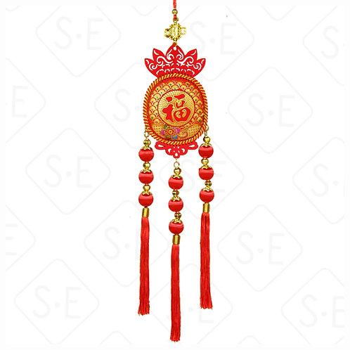絨面彩金9顆紅絲球串吊掛飾 | 勝億紙藝品行春節吊飾批發零售