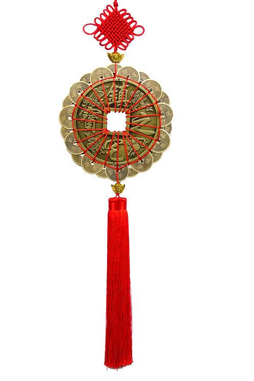 真銅1號鎮宅之寶22個銅錢中國結吊飾