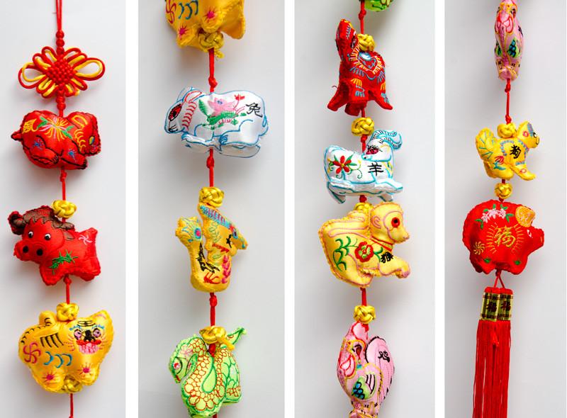 12生肖刺繡吊飾