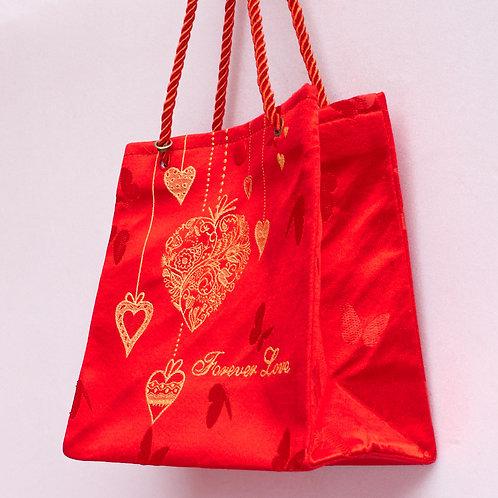 D款絲綢手提袋(愛心)