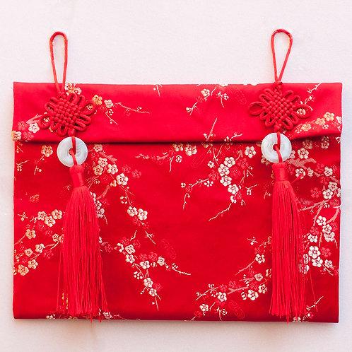 中國結玉珮絲綢紅包袋(梅花)