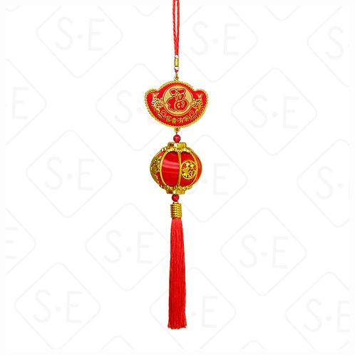 元寶紅絲綢燈籠吊掛飾 | 勝億紙藝品行春節吊飾批發零售
