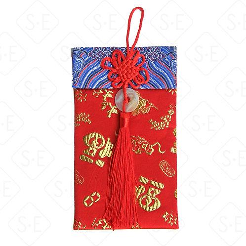 中國結玉珮絲綢紅包袋_丈藍水浪