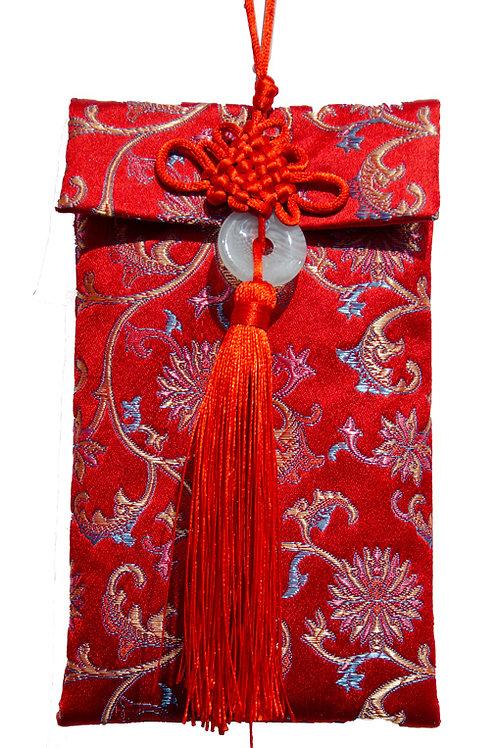 中國結玉珮絲綢紅包袋(彩色菊花)