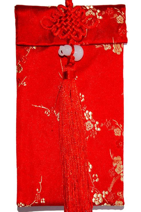 中國結葫蘆絲綢紅包袋(梅花)
