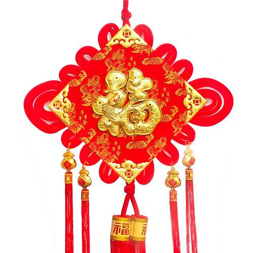 40#植絨彩金中國結(燈籠福)