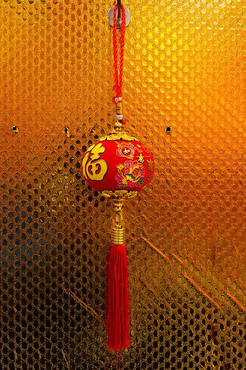 絨面彩金燈籠小吊飾