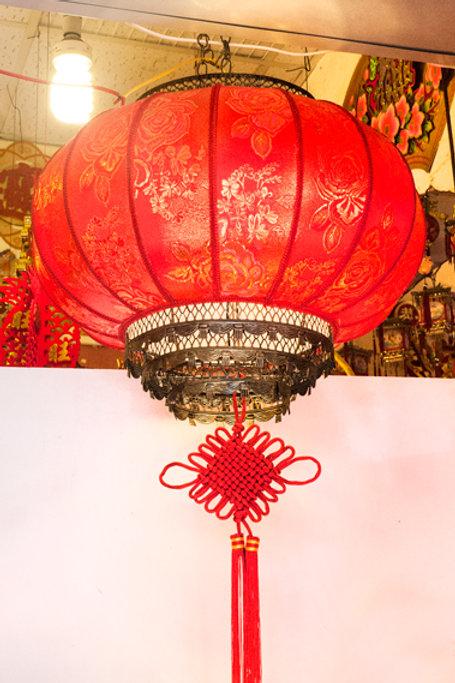 40#布面錦繡鍛金大紅燈籠-牡丹