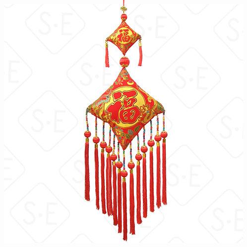 民族風絨面彩金雙福吊掛飾