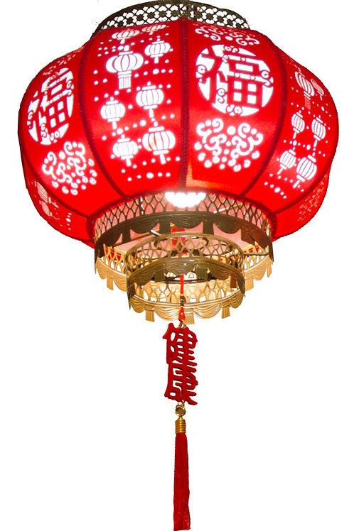 40#剪紙圓燈(燈籠圖+福字)