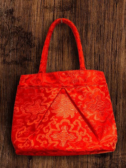大紅絲綢新娘提包,織繡滿富貴花圖紋