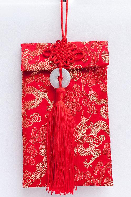 中國結玉珮絲綢紅包袋(龍紋)