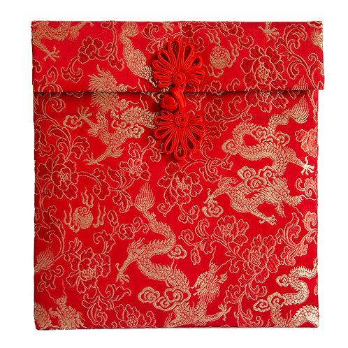 單盤扣絲綢紅包袋(2-4萬龍紋)