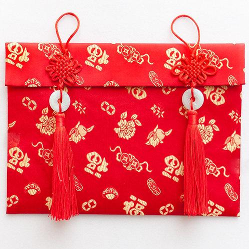 中國結玉珮絲綢紅包袋(福字)