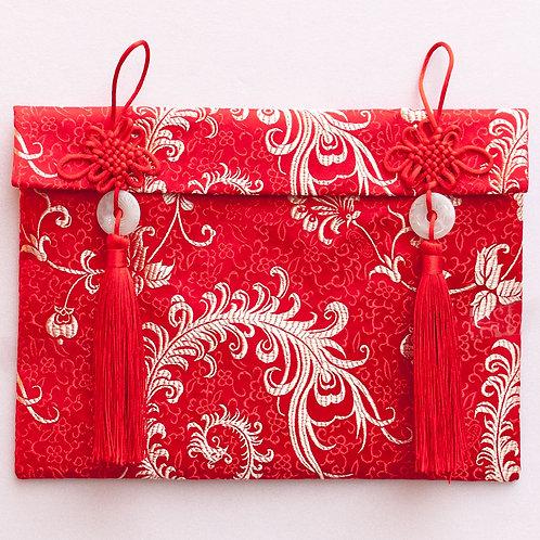 中國結玉珮絲綢紅包袋(牡丹)