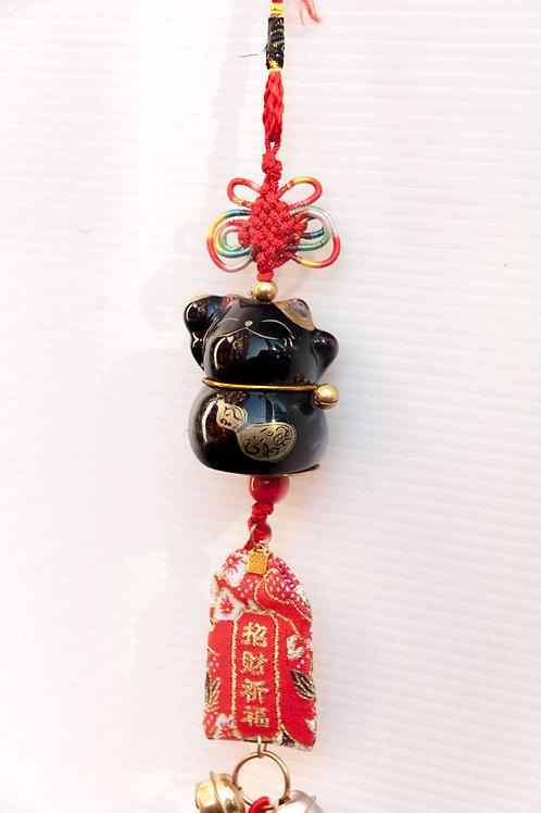 中國結招財貓平安玉手吊飾