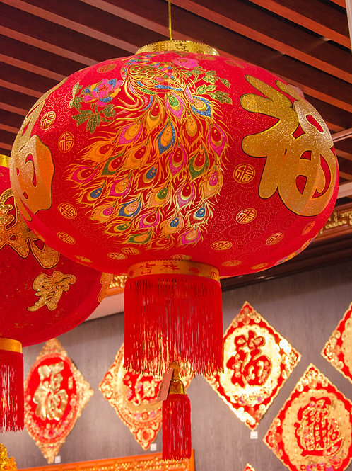 植絨燈籠(福臨旺財)1對