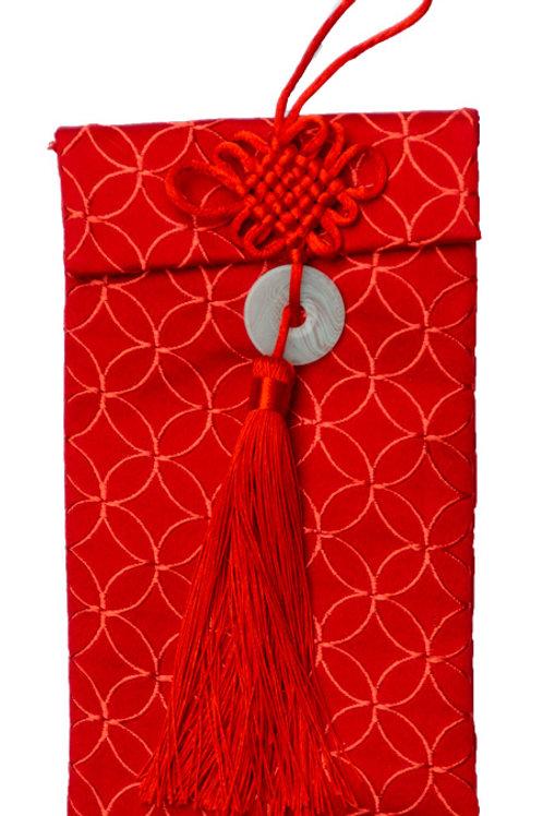 中國結玉珮絲綢紅包袋(銅錢花)