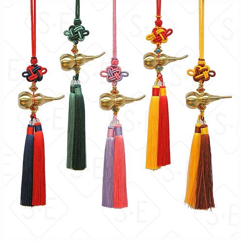 中國結銅葫蘆双色鬚小吊飾