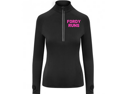 FORDY RUNS LADIES MID LAYER PINK LOGO